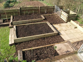 Reclaimed timber raised vegetable beds, Kempley